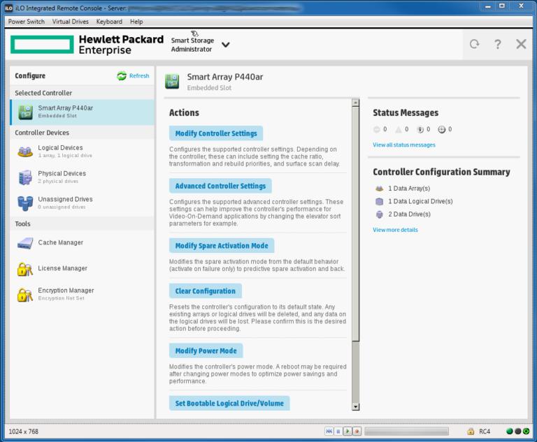 ایجاد RAID1 در نرم افزار HPE SSA